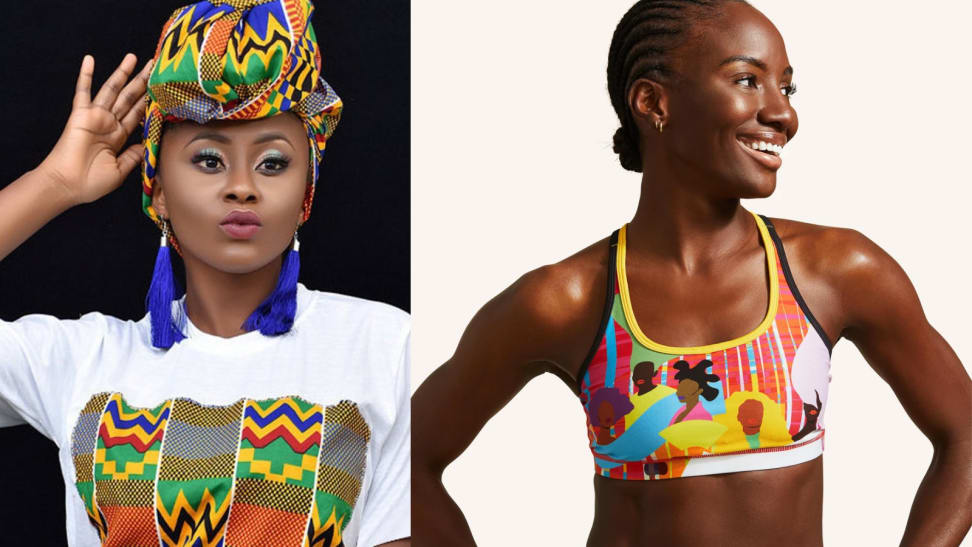 Woman wearing head wrap next to woman wearing sports bra