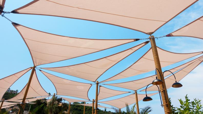 Sail-shaped shades block out the sun