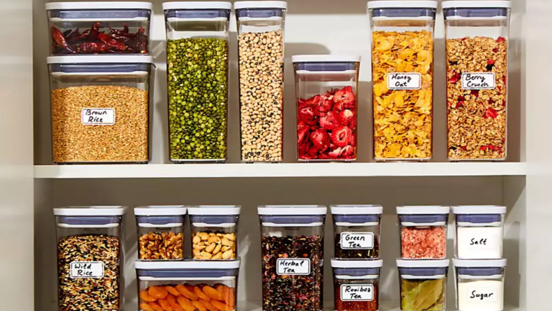 Pantry filled with food organized with clear containers.