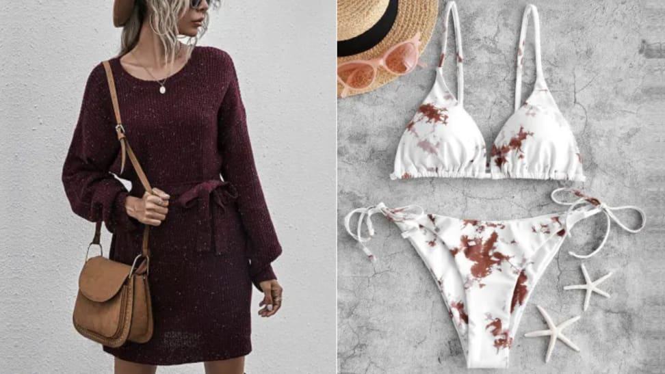 Zaful sweater dress and bikini