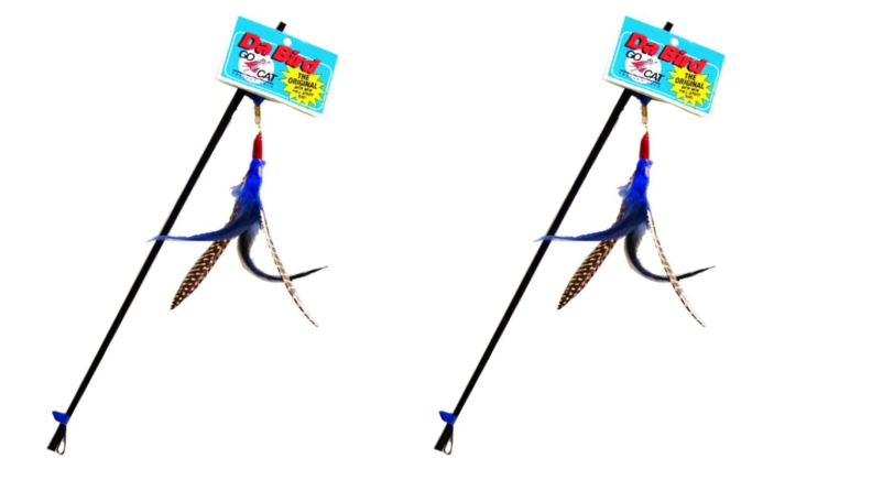 An image of a feathered cat toy.