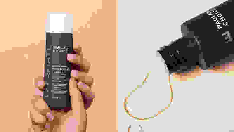 On the left: Two hands hold up the gray bottle of Paula's Choice Skin Perfecting 2% BHA Liquid Exfoliant against a peach background. On the right: The Paula's Choice Skin Perfecting 2% BHA Liquid Exfoliant lays on a cream background with liquid spilling out of it.