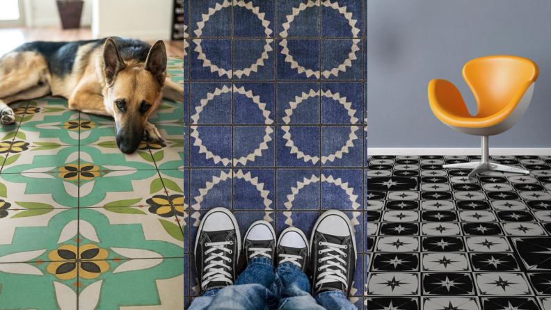 Three examples of vinyl tile flooring featuring green, blue, and black and white designs for home.