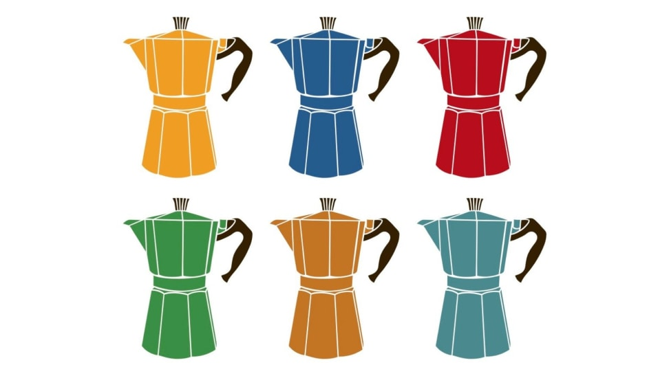 Two rows of illustrated moka pot coffee makers in the following order top to bottom and left to right: yellow, blue, red, green, mustard yellow, and teal.