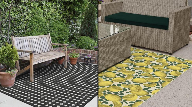 Side by side of two new Ruggable outdoor rugs