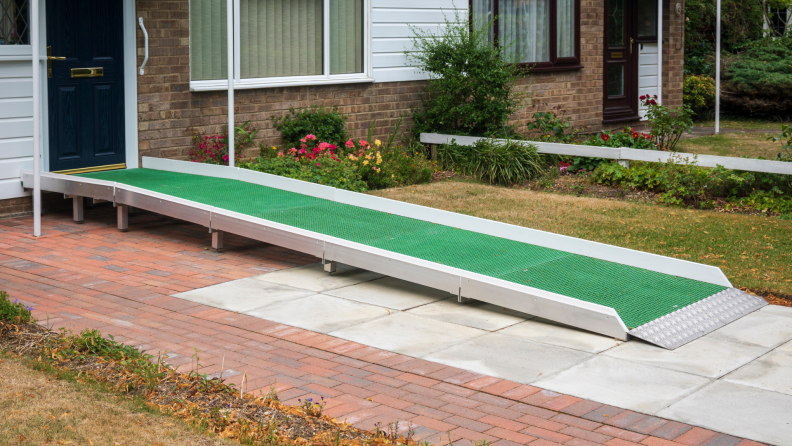 An access ramp installed at the door of a house.