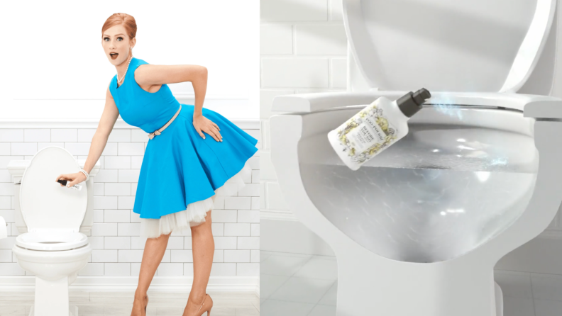 On left, person in a dress spraying product into toilet in bathroom. On right, product being sprayed into toilet.