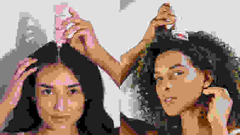 On the left: A model with long dark hair parted down the middle holds a pink squeeze tube over her hair. On the right: A model with dark curly hair holds the Beauty Bio roller over their hair.