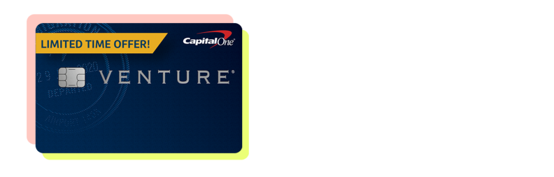 A Capital One Venture Rewards Credit Card with a pink and yellow border