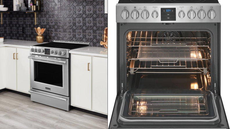 On the left, a Frigidaire Professional slide-in electric range is fitted into white kitchen cabinets. On the right, the Frigidaire electric range is fully open so you can see inside the oven.