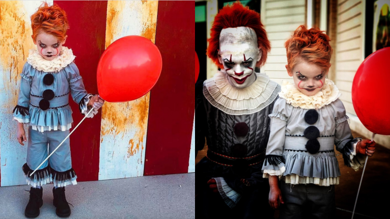 Child dressed up as scary clown Halloween costume.