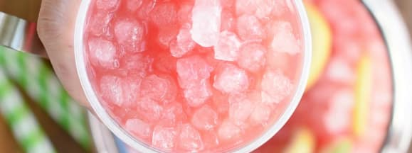 Sparkling watermelon lemonade with pebble ice