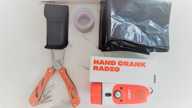 Tools from an emergency survival kit.