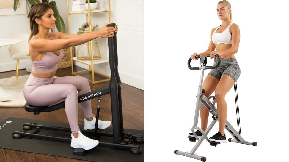 left: woman using db method squat machine right: woman using sunny row-n-ride