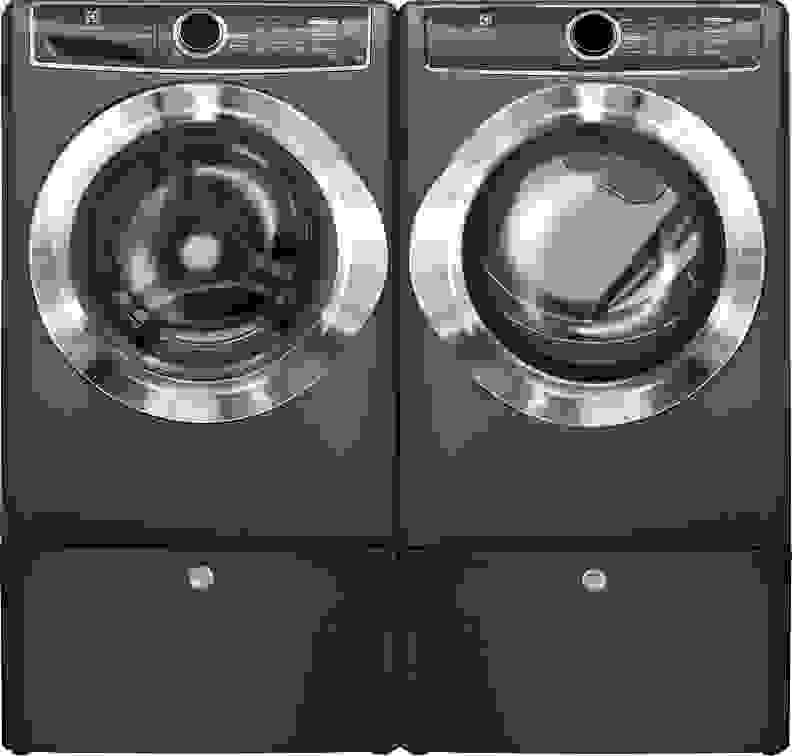 Electrolux EFLS617STT washer and EFME617STT dryer on pedestals