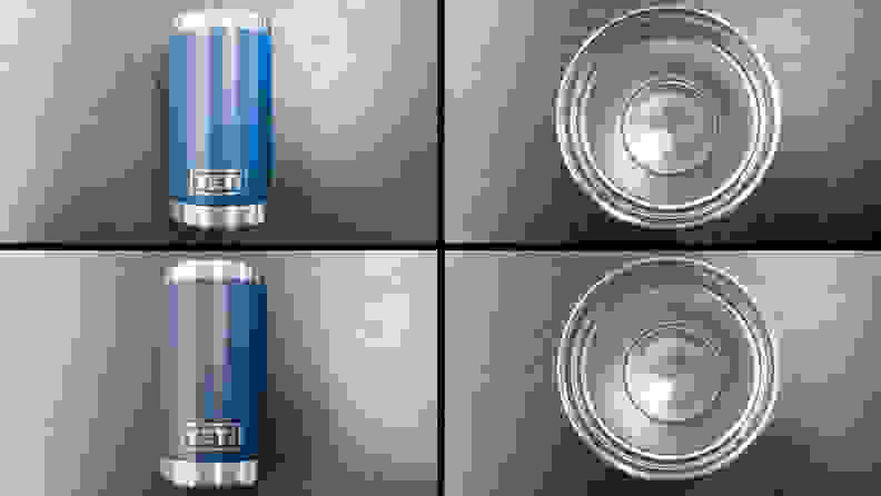 A compilation of four shots of the Yeti Rambler cup. The leftmost images show a before-and-after comparison of the exterior of the cup. Next to those is a side-by-side of the interior of the cup. The