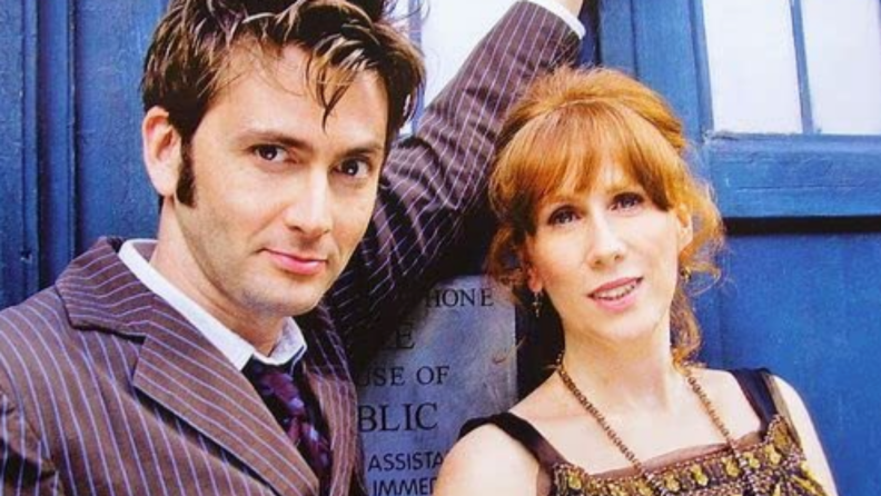 A still from 'Doctor Who' of the Tenth Doctor and Donna Noble.