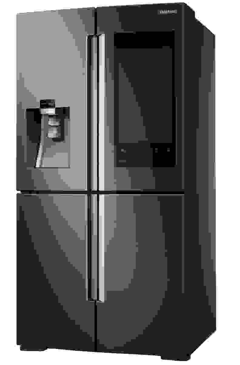 The Samsung Family Hub refrigerator in Black Stainless.