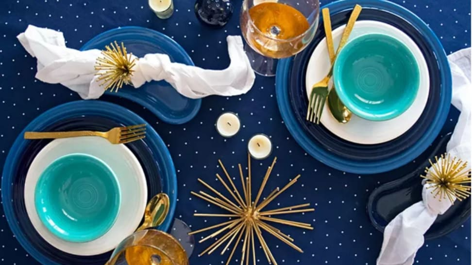 Blue, white, and turquoise Fiestaware place settings.