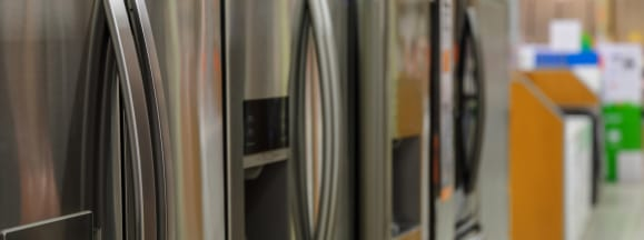 Refrigerators at appliance store