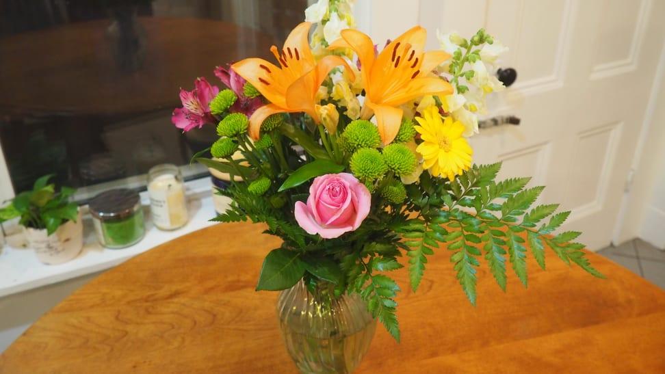 Bouquet of flowers on oak table