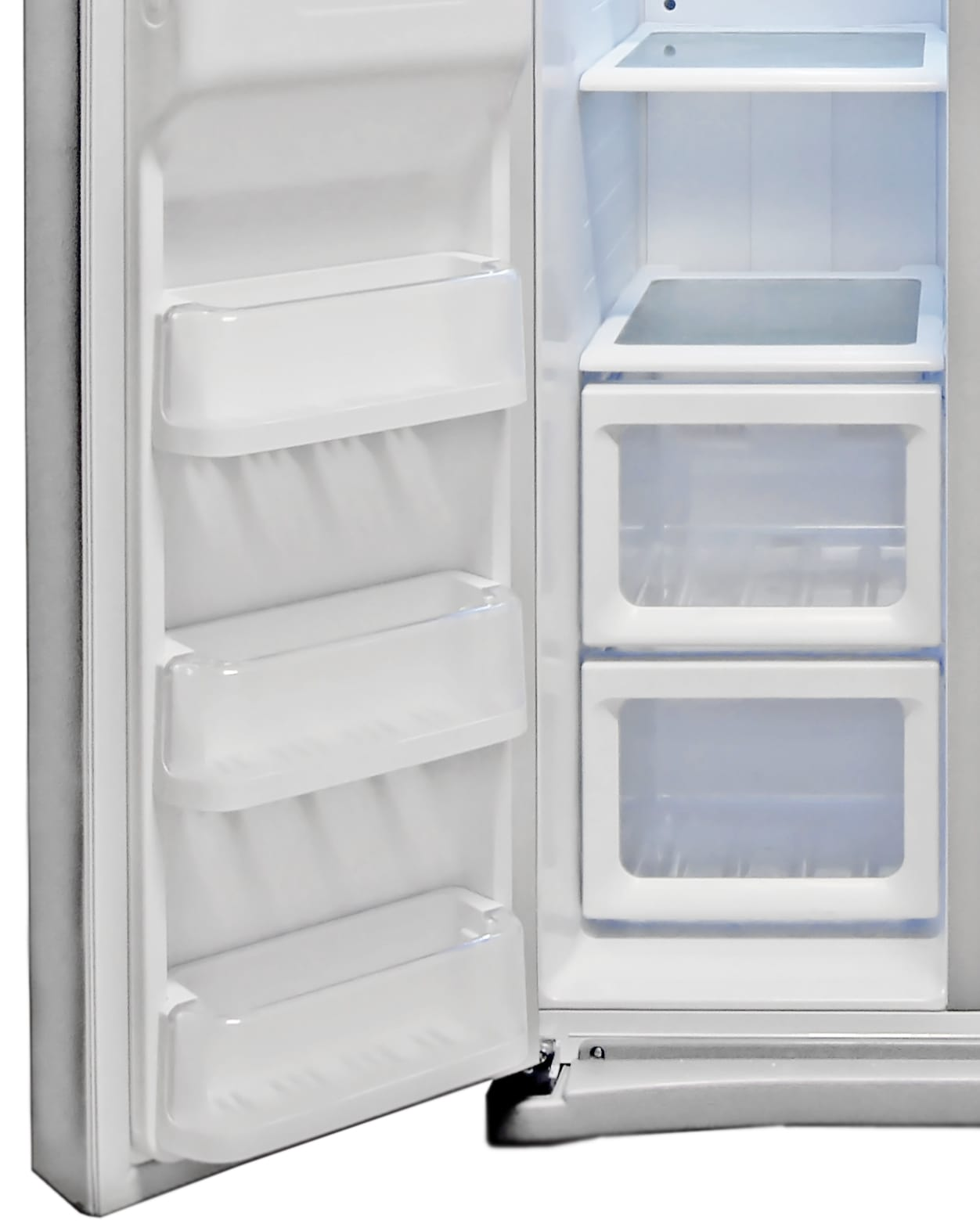 The shelves on the Samsung RS25H5121SR's freezer door tip forward for easy access.