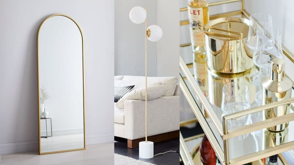 Left: Arched Floor Mirror; Middle: Stem Floor Lamp; Right: Brass Barware
