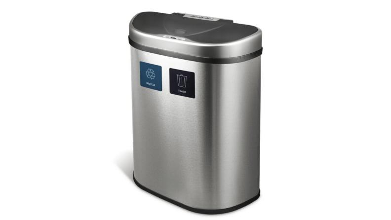 A silver trashcan