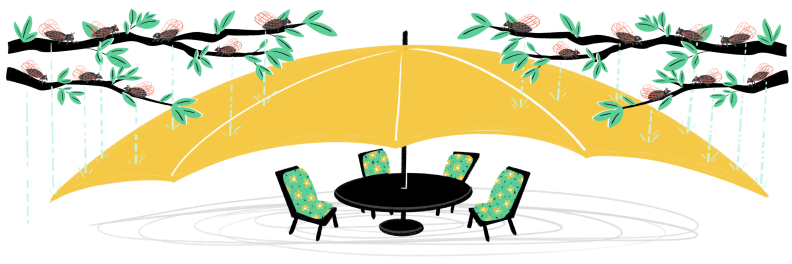 Illustration of umbrella covering a patio dining set from cicadas up in the trees
