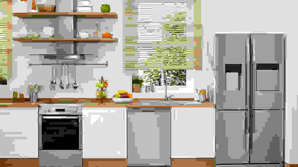 Modern stainless steel kitchen appliances