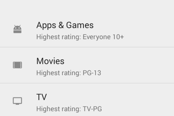 Google Play Store app parental controls