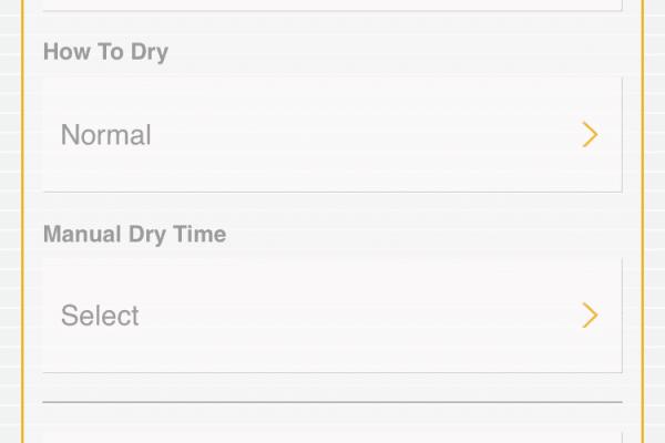 Whirlpool App dryer cycle menu