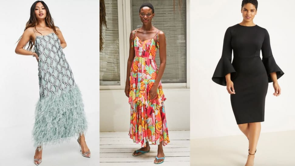 Left: Feather cocktail dress; Middle: Colorful maxi dress; Right: Fitted scuba dress
