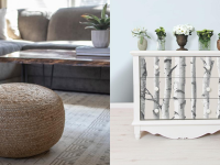 Home decor at Home Depot, including a pouf in a living room next to a bookcase with birch wallpaper on its drawers.