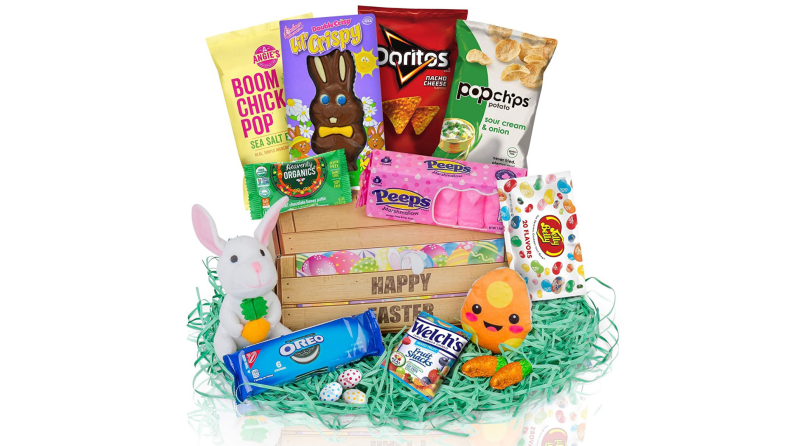 An Easter basket full of sweet and salty snacks