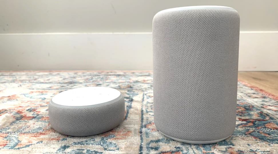 Amazon Echo Dot (third-gen) on the left and the Amazon Echo (third-gen) on the right.