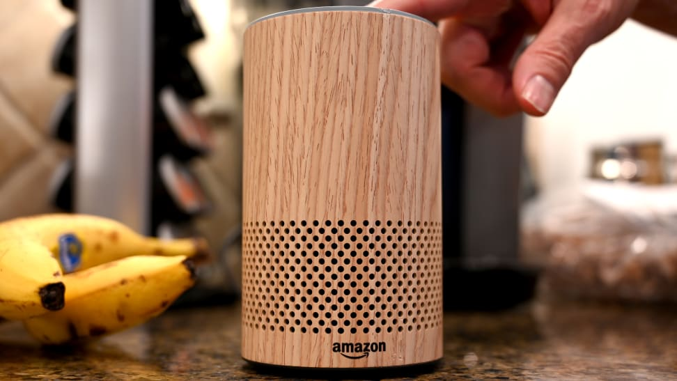 An Amazon Echo (third-generation) speaker sits on the counter.