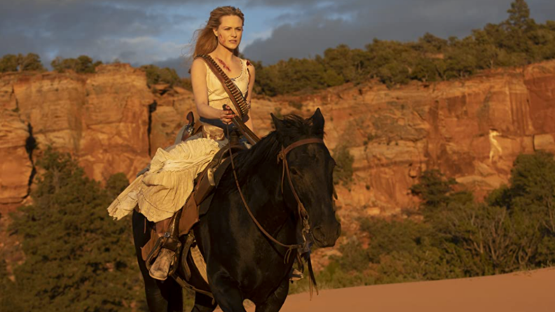 A still from 'Westworld' featuring Evan Rachel Wood on a horse.
