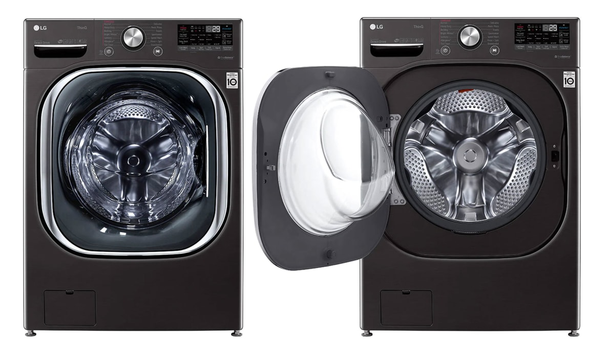 Two instances of the LG WM4500HBA next to each other. The leftmost one has its door closed, the one on the right has its door open.