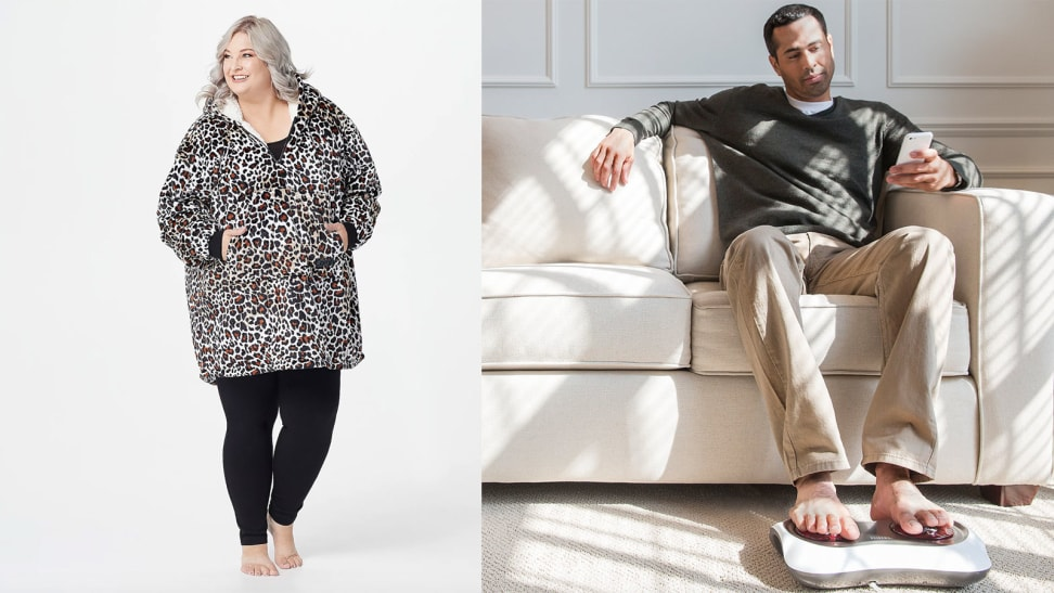 woman in blanket hoodie, man with foot massager