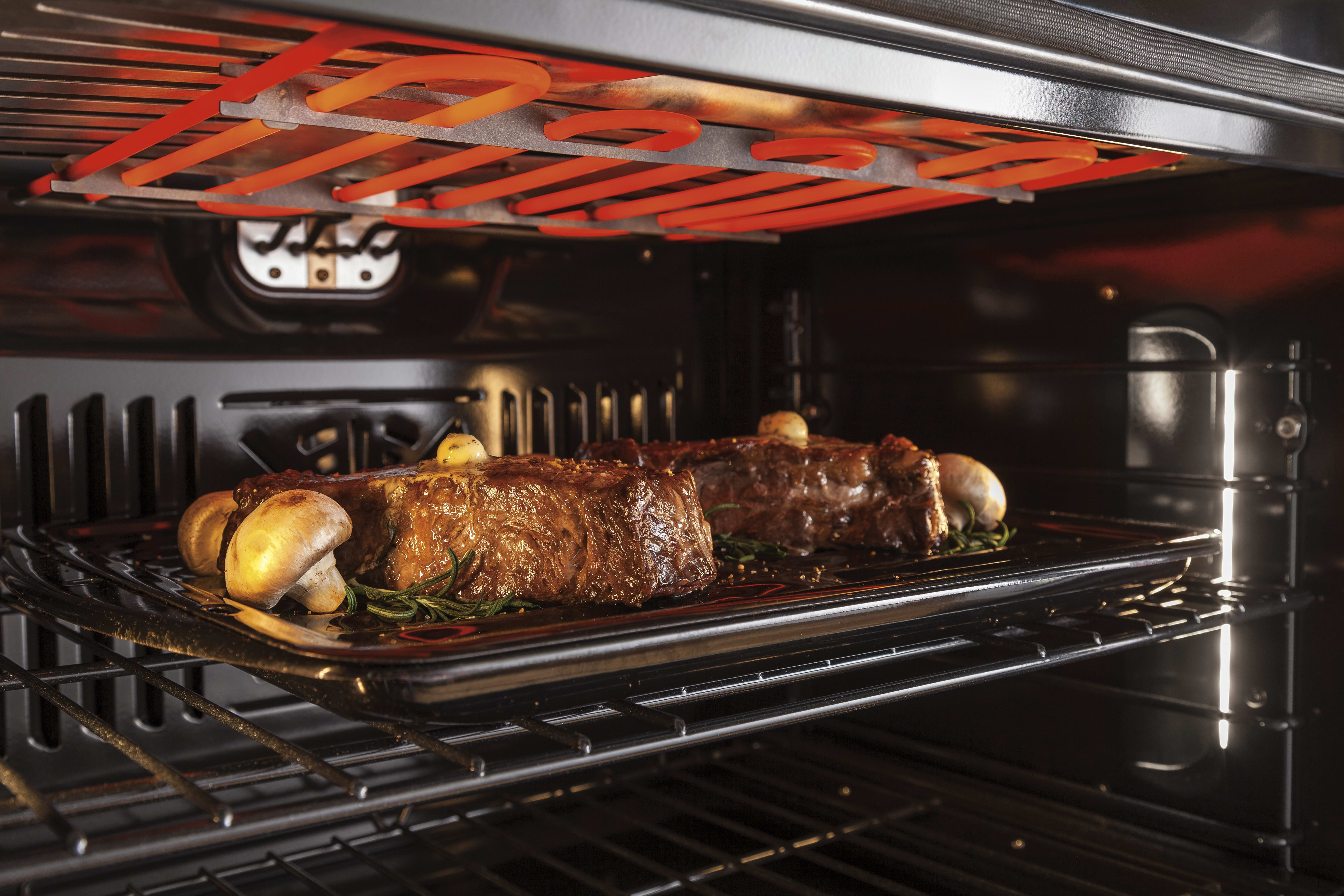 The ten-pass broiling element in action.