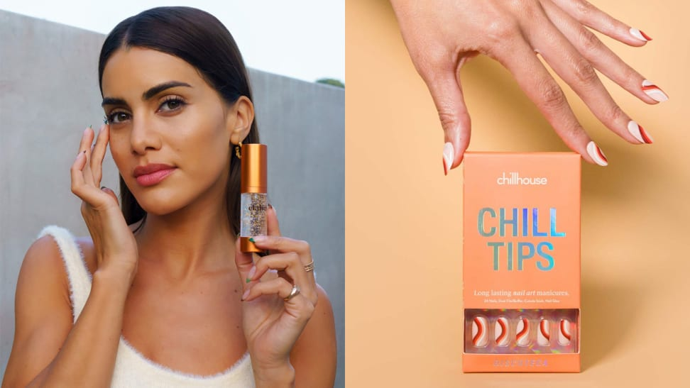 On the left: The founder of Elaluz holding a skincare bottle. On the right: A hand reaching down to a set of Chillhouse press-on nails.