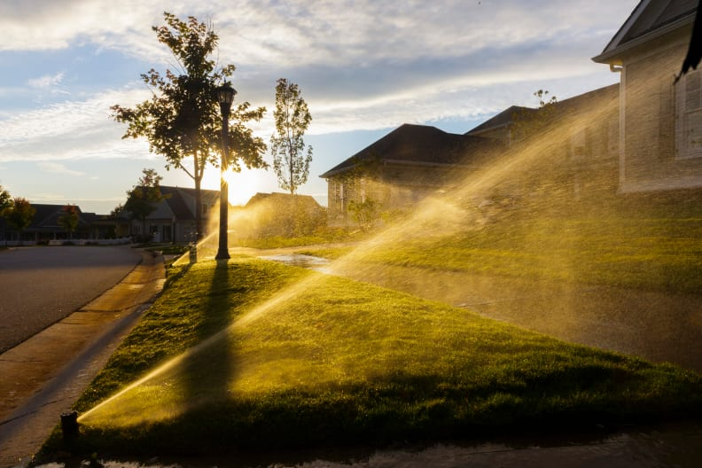 Sprinklers at dusk