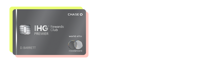 The IHG Rewards Club Premier credit card with a yellow-green and pink border