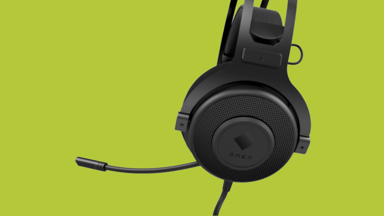 An image of black OMEN headphones as seen from the side, with the mic extended out from the headphones toward the side.