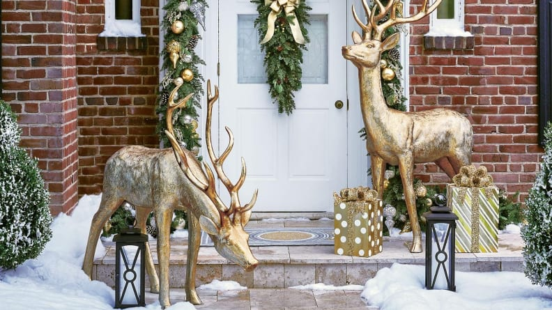 These beautiful gilded deer will look magical on your front lawn during the holidays.