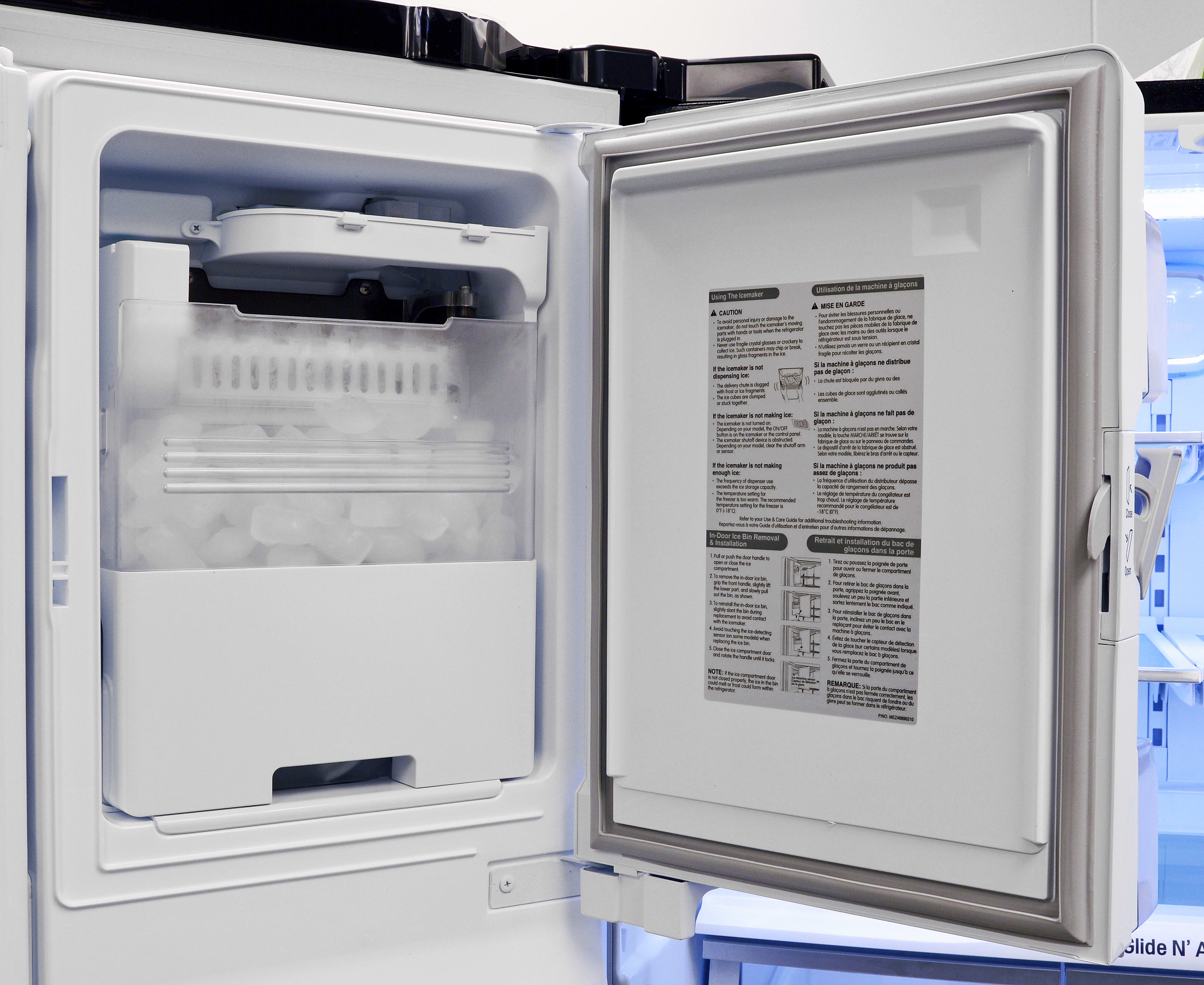 The slim ice maker is easy to get at if you need more ice than the dispenser can handle.