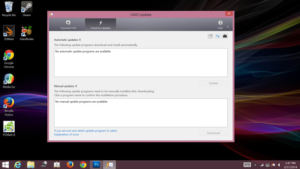 Vaio Update is useful for keeping the current drivers on your PC.