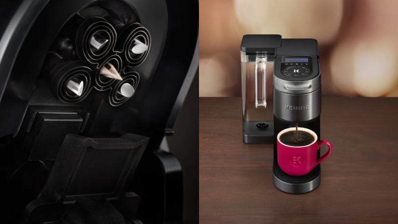 On the left, it's a close-up look of the coffee maker's brewhead, which has five penetration points. On the right, it's the Keurig K-Supreme Plus Smart coffee maker with a mug.