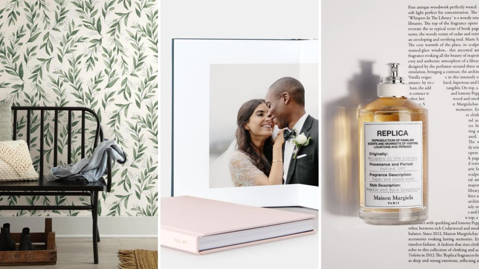 (left) An entryway with wallpaper. (center) a wedding photo album. (right) a bottle of perfume.